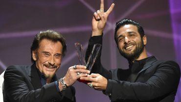 Johnny Hallyday et Maxime Nucci aux Victoires de la Musique en février 2016