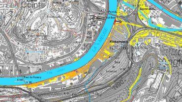 """Sur cette nouvelle carte de la région wallonne, le risque  à Kinkempois (en orange) est """"moyen"""""""