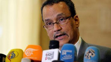 Le représentant spécial de l'ONU au Yémen, Ismaïl Ould Cheikh Ahmed lors d'une conférence de presse à l'aéroport de Sanaa le 7 novembre 2016