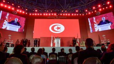 Le président tunisien Béji Caïd Essebsi s'adresse aux partisans de Nidaa Tounès en ouverture du congrès de cette formation politique, le 6 avril 2019 à Monastir (est)