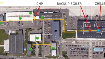 Huit bâtiments de Liège Airport sont reliés par un réseau permettant d'importantes économies d'énergie
