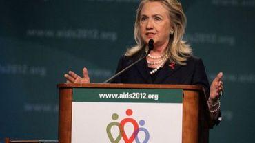 Hillary Clinton s'exprime lors de la 19e conférence internationale sur le sida à Washington, le 23 juillet 2012