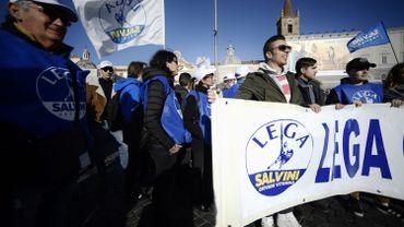 Les militants de La Ligue manifestent à Rome, place del Popolo le 8 décembre 2018. Crédits : Filippo MONTEFORTE /AFP
