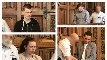 Les accusés : Loïck Masson, Dorian Daniels, Belinda Donnay et Alexandre Hart