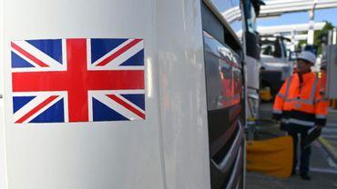 Des employés d'Eurotunnel inspectent un camion britannique en route pour la France à Folkestone (Royaume-Uni), entrée britannique du tunnel sous la Manche, le 17 septembre 2019