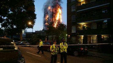 La tour Grenfelle en feu, le 14 juin 2017 à Londres