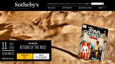 """Sotheby's organisera une vente aux enchères """"Star Wars"""", à moins d'une semaine de la sortie du 7e épisode, """"Le Réveil de la force"""""""