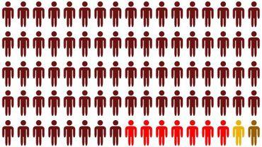 Un aperçu de la proportion des mineurs tués pendant le conflit israélo-palestinien. En bordeaux, les Palestiniens tués dans la Bande de Gaza; en rouge, ceux qui ont été tués en Cisjordanie; en jaune, les Israéliens tués en Israël; en kaki, les Israéliens tués dans la Bande de Gaza