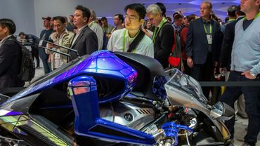 Yamaha's 'Motoroid' concept electric motorcycle reaches speeds topping 200 kilometers per hour but is blind, relying on pre-programmed routes