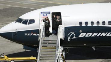 Atterrissage d'un Boeing 737 MAX 9 sur le tarmac de l'avionneur à Seattle, le 13 avril 2017
