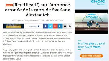 France: un faux Tweet de la nouvelle ministre de la culture annonce la mort d'un prix Nobel