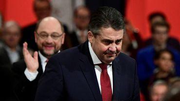 Le chef de la diplomatie allemande Sigmar Gabriel lors d'un meeting du SPD à Berlin le 19 mars 2017
