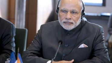 Le Premier ministre indien Narendra Modi lors d'une réunion avec le Medef à Paris, le 10 avril 2015