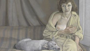 """""""Girl with a White Dog"""" par Lucian Freud, (1922-2011),1950-1, Huile sur toile, 762 x 1016 mm, Tate"""