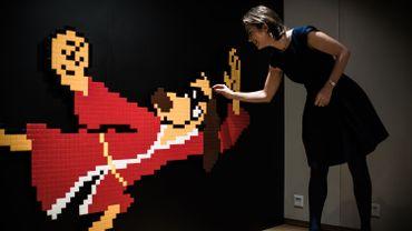 La mosaïque représente Hong Kong Phooey, chien masqué adepte des arts martiaux et personnage d'un dessin animé américain des années 1970