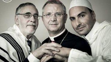 Le rabbin de Bruxelles Albert Guigui, l'évêque d'Anvers Johan Bonny et l'imam Khalid Benhaddou.