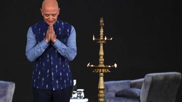 Le fondateur d'Amazon Jeff Bezos lors d'une conférence organisée par le géant du commerce en ligne à New Delhi, le 15 janvier 2020.