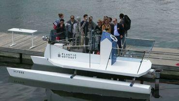 Le catamaran Ulysse du projet Plastic Odyssey inauguré à Concarneau le 17 juin 2018, dans le Finistère