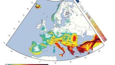 Carte des séismes possibles en Europe