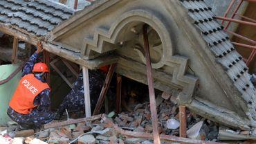 Des secouristes recherchent des survivants à l'aide d'un chien renifleur dans les décombres d'une maison qui s'est effondrée à la suite du séisme, le 12 mai 2015.