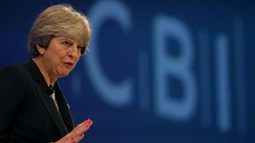 La Première ministre britannique Theresa May, lors d'une conférence de l'organisation patronale CBI, le 6novembre 2017 à Londres