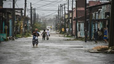 Une rue inondée à Caibarien, dans la province de Santa Clara, après le passage de l'ouragan Irma, le 9 septembre 2017 à Cuba