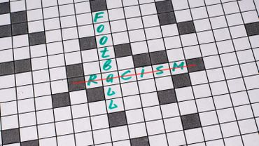 Racism football. Text in crossword. Green letters