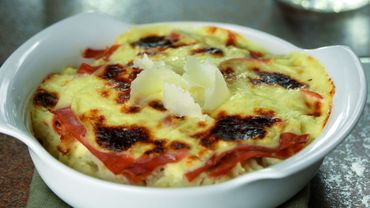 Gratin de chou-fleur au parmesan et jambon cru
