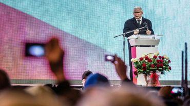 Le chef du parti Droit et Justice (PiS) polonais Jaroslaw Kaczynski, lors d'une cérémonie à Varsovie, le 10 avril 2016