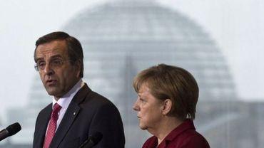 La chancelière allemande Angela Merkel et le Premier ministre grec Antonis Samaras le 8 janvier 2013 à Berlin