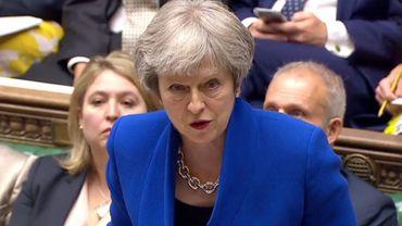 Capture d'écran d'une vidéo fournie par le parlement britannique de la Première ministre Theresa May devant les députés, le 20 juin 2018 à Londres