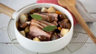Ragoût de légumes oubliés, châtaignes et travers de porc