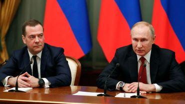 Le Premier ministre Medvedev et le président Poutine.