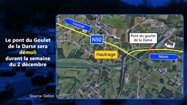 Démolition du pont du goulet de la Darse à Hautrage