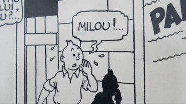 """Détail de la planche de """"Tintin et l'Etoile mystérieuse"""" qui va être vendue aux enchères"""