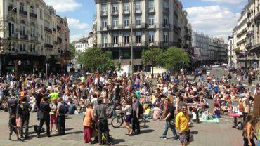 """Le quatrième """"Pic Nic The Street"""", place de la Bourse, à Bruxelles, le 7 juin 2015"""