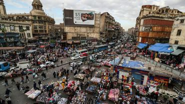 Une vue générale d'une place du Caire, la capitale égyptienne, le 11 février 2020