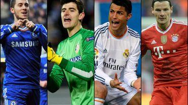 Eden Hazard, Thibaut Courtois, Cristiano Ronaldo et Daniel Van Buyten