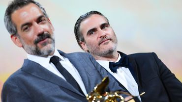 Todd Phillips et Joaquin Phoenix avec le Lion d'Or