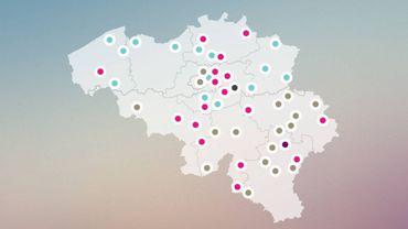 Répartition des centres d'accueil en Belgique au 15 septembre.
