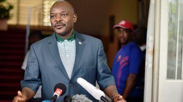Le président Burundais, Pierre Nkurunziza, à son retour au pays après la tentative de putsch du 13 mai dernier.