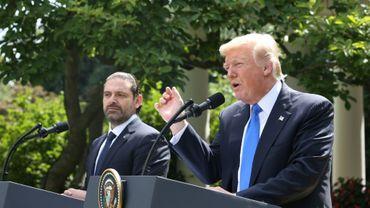 Conférence de presse du président américain Donald Trump et du Premier ministre libanais Saad Hariri (g), le 25 juillet à Washington