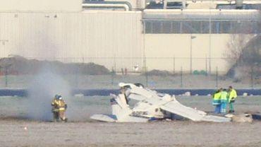 L'épave du Cessna dans lequel 5 personnes ont trouvé la mort samedi.