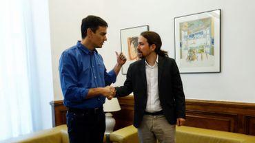 Pedro Sanchez (PSOE) et Pablo Iglesias (Podemos)