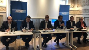 DéFI (à gauche), MR (au centre) et cdH (à droite) ont présenté ce mercredi l'accord de majorité conclu à la province de Namur.