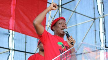 Julius Malema en meeting electoral dans le stade d'Alexandra. Son parti, les Combattants pour la liberté économique (EFF), prône la privatisation des terres, des mines et des banques.