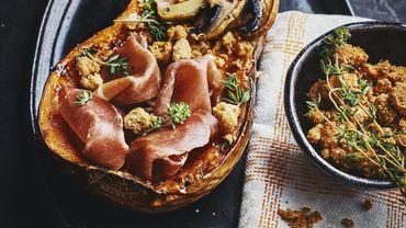 Courge butternut au jambon Serrano, crumble manchego