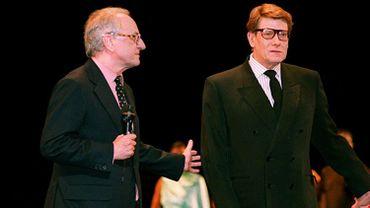 Pierr Bergé et Yves Saint Laurent lors des 30 ans de la maison Saint Laurent.
