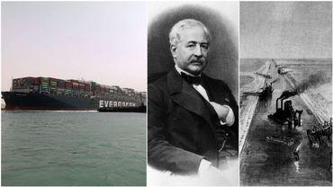 Le canal de Suez, bloqué par un porte-conteneurs, a été imaginé par le Français Ferdinand de Lesseps.