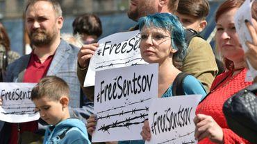 Manifestation à Kiev en Ukraine pour la libération du cinéaste Oleg Sentsov, le 1er juillet 2018